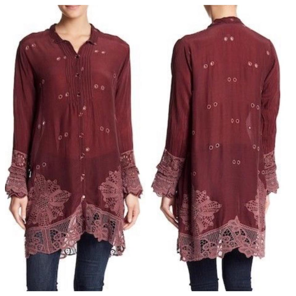 235a811b1513 Johnny Was Burgundy Wynne Scalloped Hem Lace Embroidered Tunic Size ...