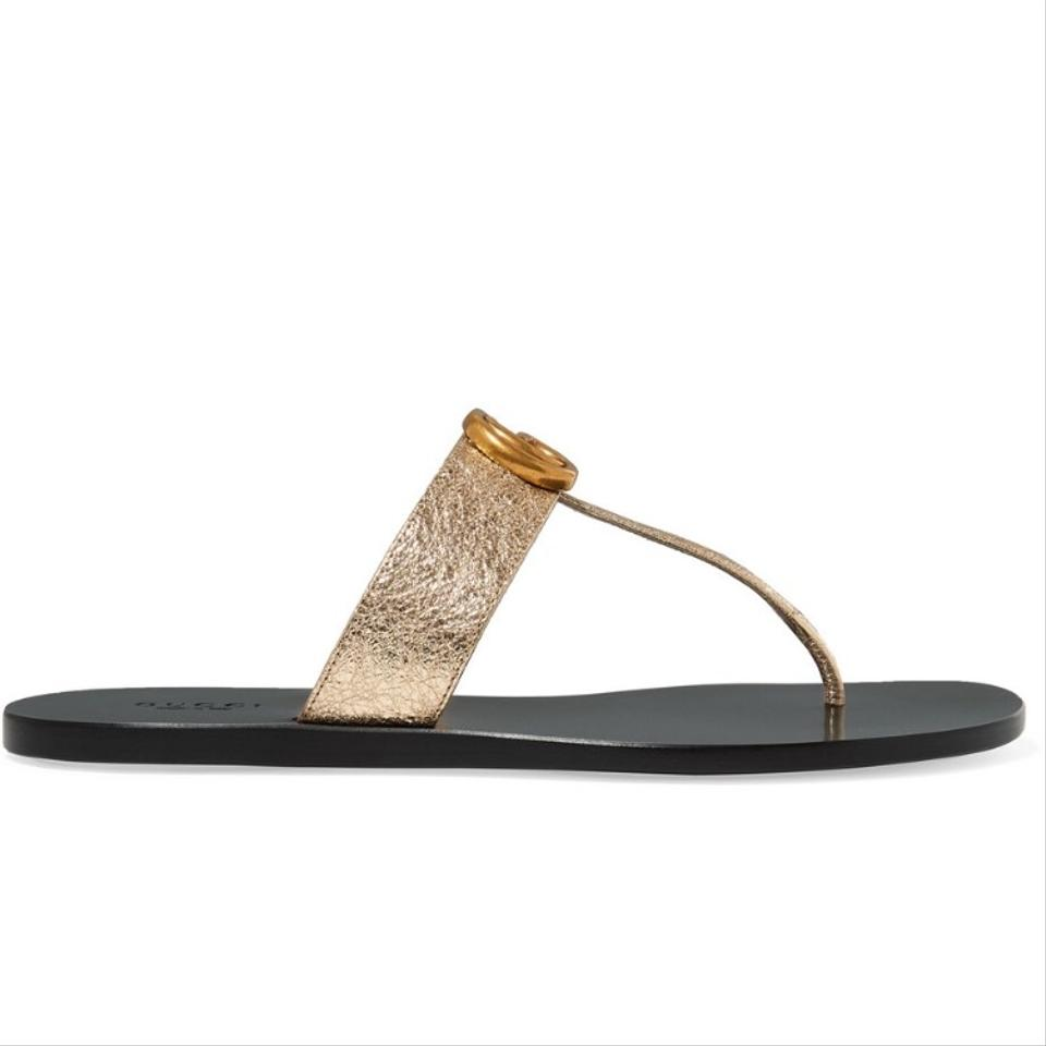 e7d701363c56 Gucci Marmont Logo-embellished Metallic Textured-leather Sandals ...