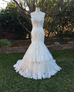 KittyChen Couture Light Gold and Ivory Beaded Lace Phaedra H1718 Sexy Wedding Dress Size 4 (S)