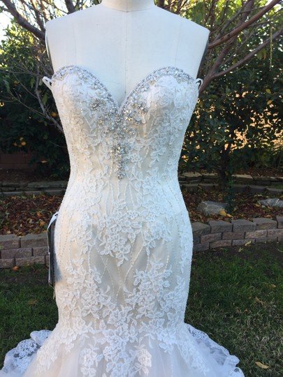 KittyChen Couture Light Gold and Ivory Beaded Lace Phaedra H1718 Sexy Wedding Dress Size 4 (S) Image 5