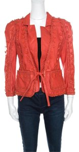 Just Cavalli Applique Red Leather Jacket