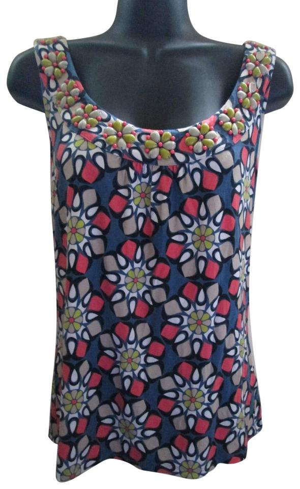 4d5295b055cd44 Boden Floral Spring Summer Beaded Casual Top Multicolored ...