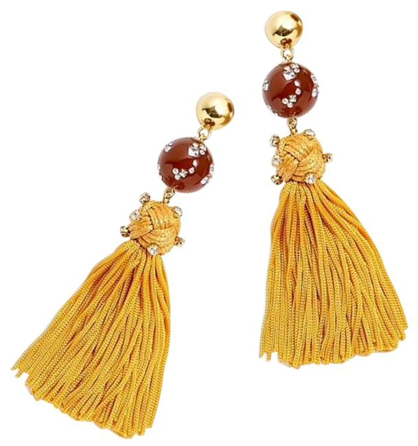 J.Crew Caramel/Yellow Crystal-studded Bead Tassels Earrings J.Crew Caramel/Yellow Crystal-studded Bead Tassels Earrings Image 1