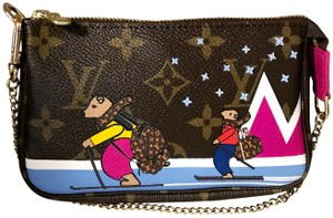 Louis Vuitton Christmas Animation Limited Edition Mini Pochette Cosmetic Wristlet in Monogram and Pink