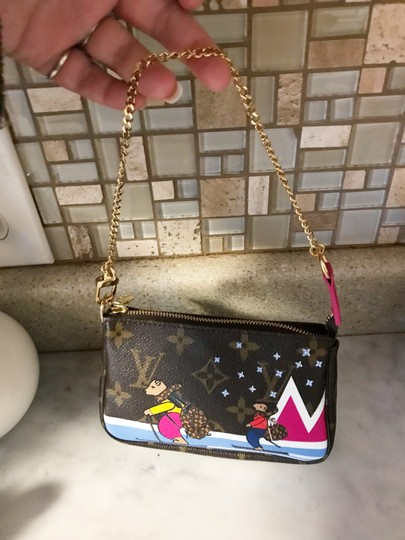 Louis Vuitton Christmas Animation Limited Edition Mini Pochette Cosmetic Wristlet in Monogram and Pink Image 7