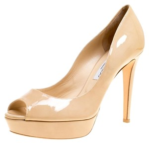 Jimmy Choo Patent Leather Peep Toe Leather Beige Pumps