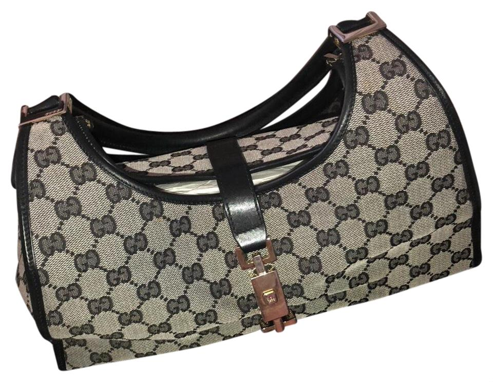 e3124706d0bd Gucci Bardot Monogram Canvas 0011067 Black and Gray Leather Baguette ...