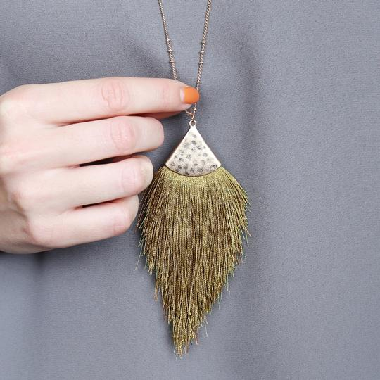 Riah Fashion Tassel Pendant Long Necklace Image 3