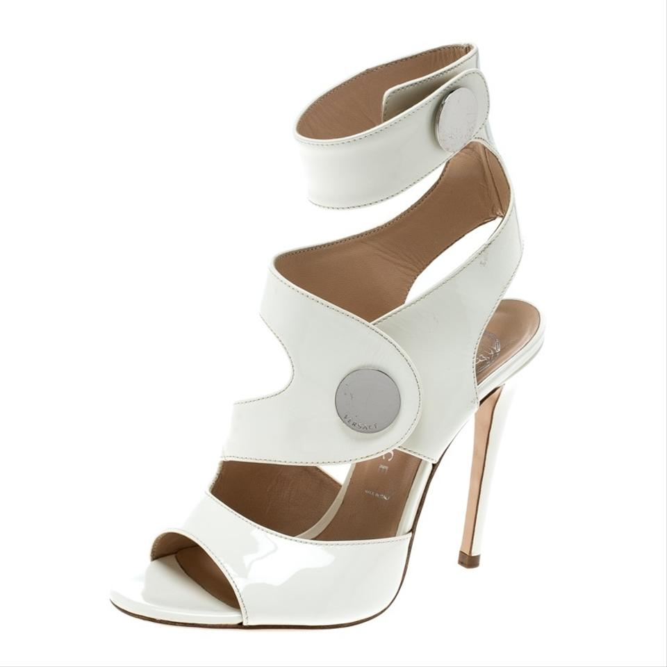 ee08d443c6c7 White Leather Peep Toe Cutout Ankle Strap Sandals