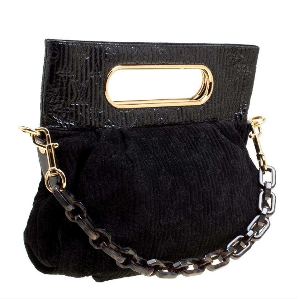 90d02f41f9b8 Louis Vuitton Satin Suede Monogram Black Clutch Image 11. 123456789101112