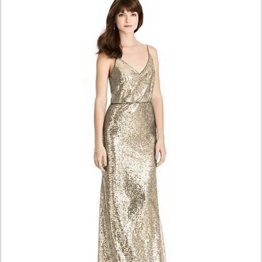 Dessy Gold Sequin Style 6784 Formal Bridesmaid/Mob Dress Size 16 (XL, Plus 0x) Image 1