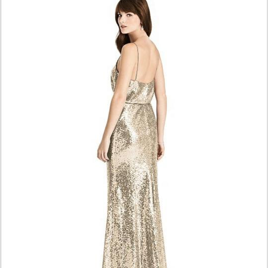 Dessy Gold Sequin Style 6784 Formal Bridesmaid/Mob Dress Size 16 (XL, Plus 0x) Image 2