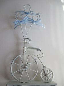 Eight White Bicycle Table Number Holders