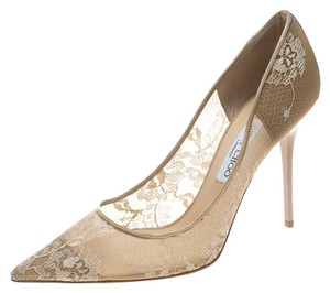 Jimmy Choo Lace Patent Leather Pointed Beige Pumps