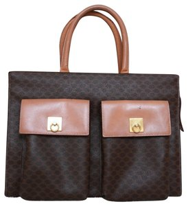 Celine Canvas Macadam Tote in Brown