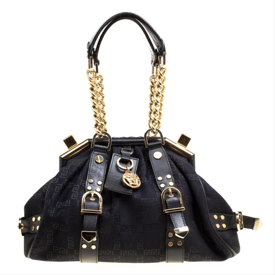 Versace Signature Fabric and Madonna Boston Black Leather Satchel ... 88769471cf