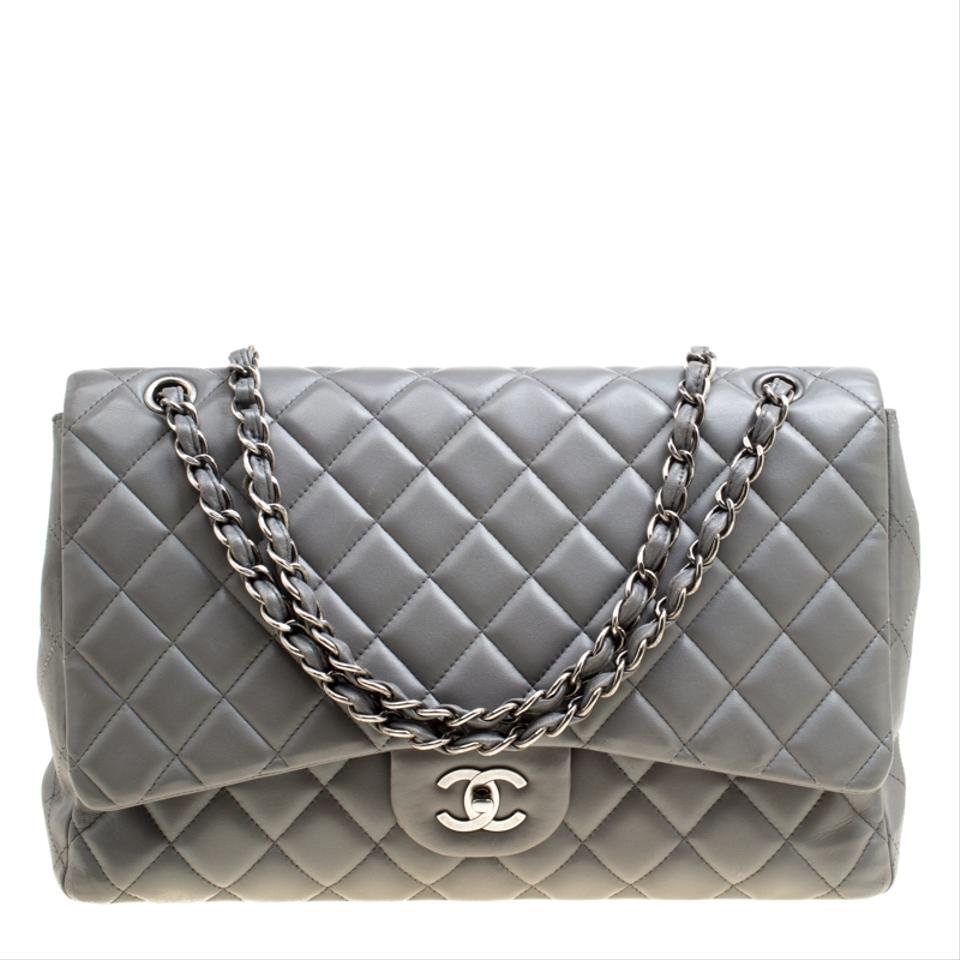 d1f9c5165f78 Chanel Classic Flap Quilted Maxi Classic Single Grey Leather ...