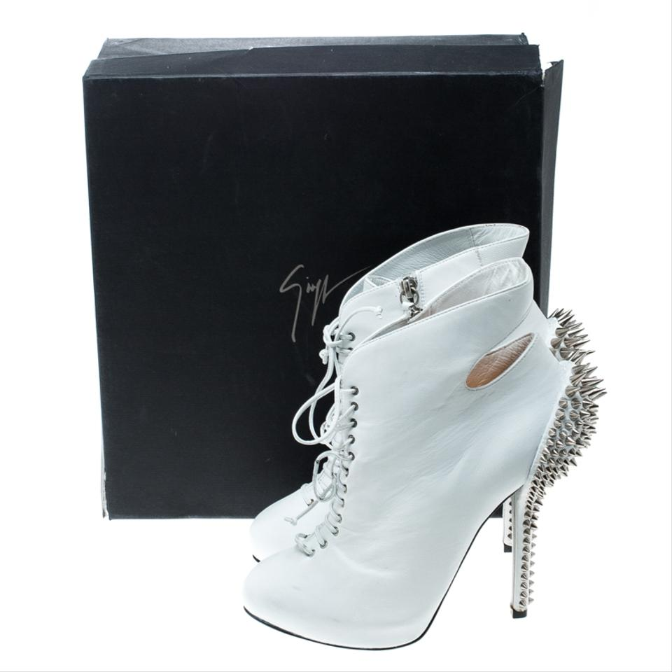 d62287b784 Giuseppe Zanotti White Leather Spike Embellished Heel Cut Out Ankle ...