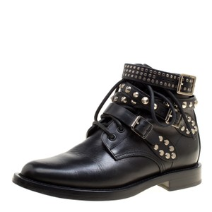 Saint Laurent Paris Leather Studded Ankle Black Boots