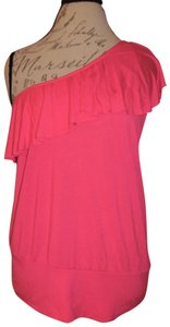 Wet Seal One Shoulder Ruffle Stretch Top Hot Pink