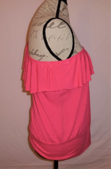 Wet Seal One Shoulder Ruffle Stretch Top Hot Pink Image 1