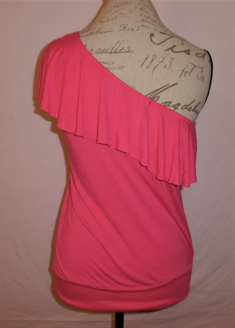 Wet Seal One Shoulder Ruffle Stretch Top Hot Pink Image 2