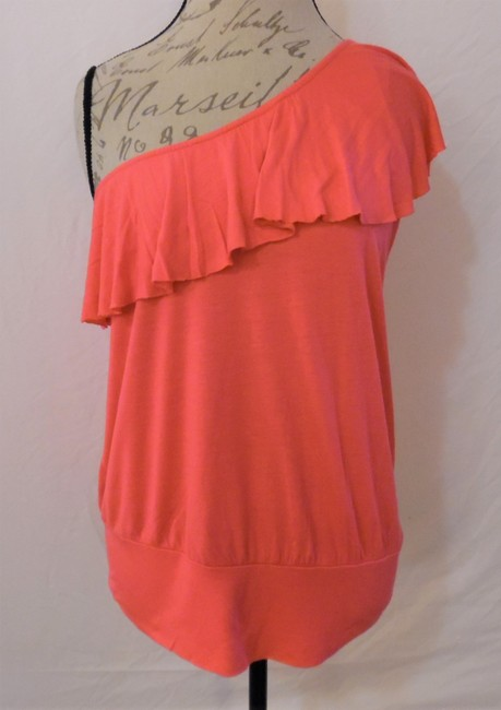 Wet Seal One Shoulder Ruffle Stretch Top Hot Pink Image 7