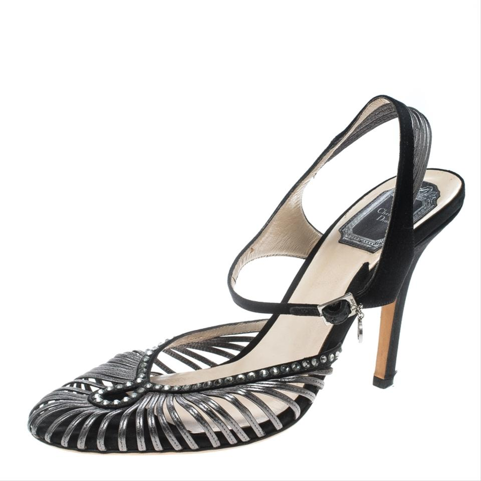 970df63a2 Dior Black Leather and Satin Crystal Embellished Strappy Sandals Formal  Shoes. Size: EU 37 ...