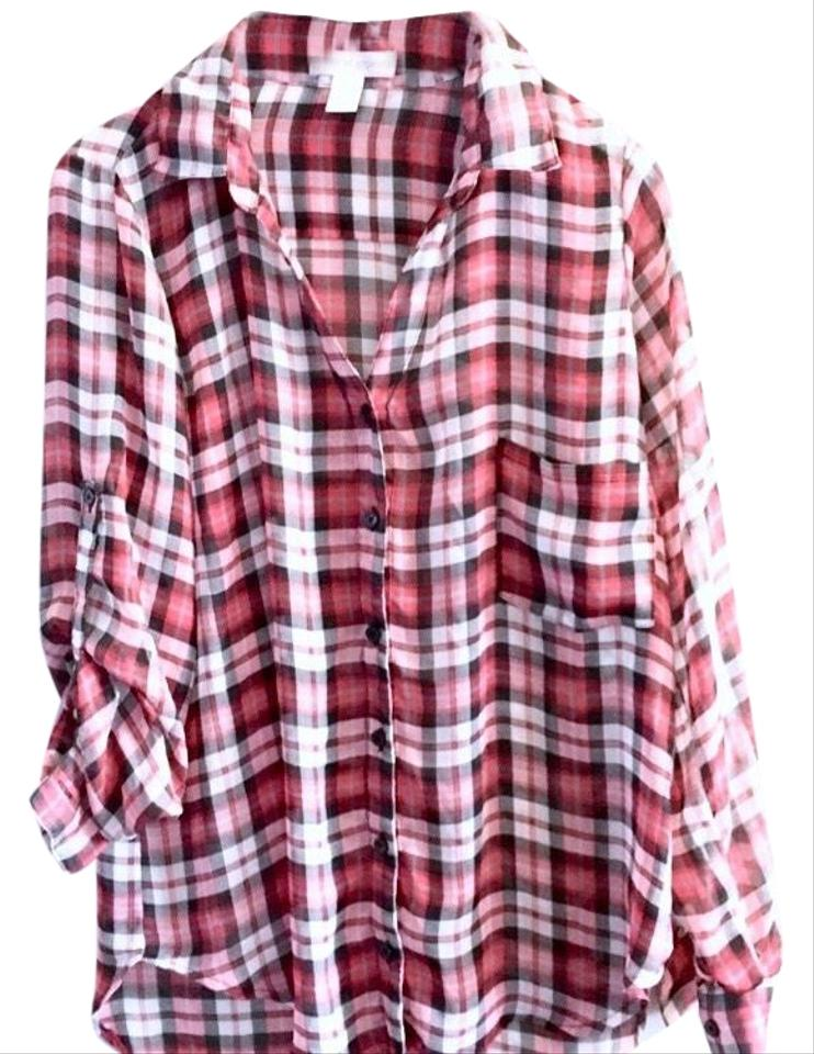 db8d402f9 Band of Gypsies Womens Large Blouse Plaid Button Up Sheer Large ...