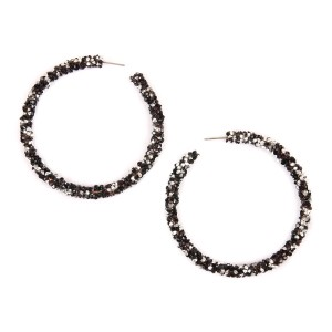 Riah Fashion Rhinestone Coated Hoop Earrings