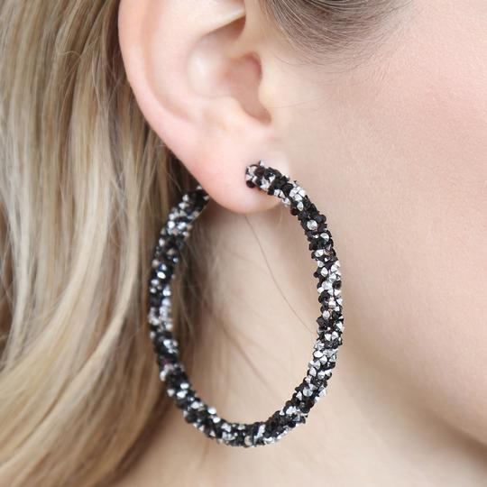 Riah Fashion Rhinestone Coated Hoop Earrings Image 2
