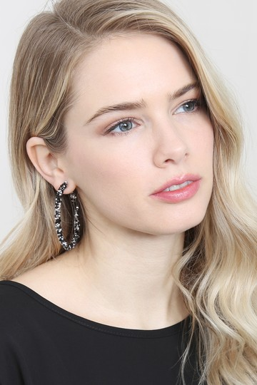 Riah Fashion Rhinestone Coated Hoop Earrings Image 3