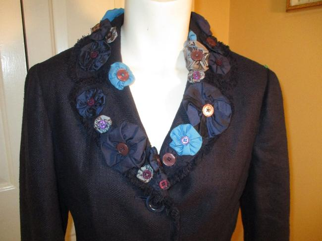 Moschino Silk Flower Jacket 005 navy multi Blazer Image 1
