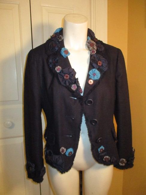 Moschino Silk Flower Jacket 005 navy multi Blazer Image 10