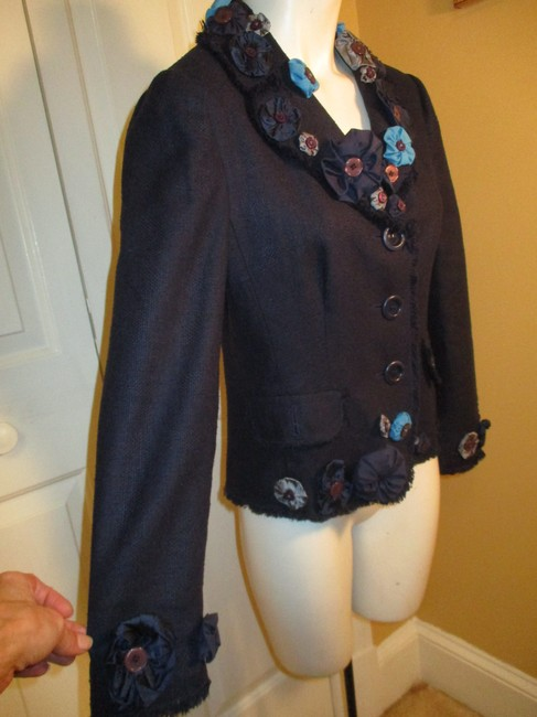 Moschino Silk Flower Jacket 005 navy multi Blazer Image 2