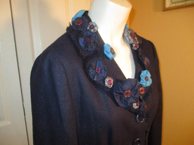 Moschino Silk Flower Jacket 005 navy multi Blazer Image 3