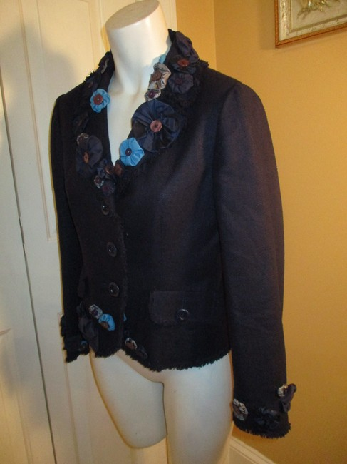Moschino Silk Flower Jacket 005 navy multi Blazer Image 6