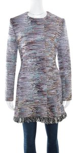 Dior Multicolor Cotton Textured Frayed Hem Dress Coat L