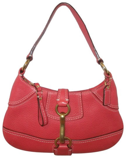 Preload https://img-static.tradesy.com/item/24588861/coach-buckle-coral-leather-baguette-0-1-540-540.jpg