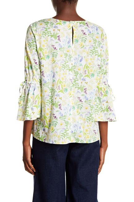 Philosophy Bell Cuffs Tie Accents Floral Print Boho Top Green Combo Image 1