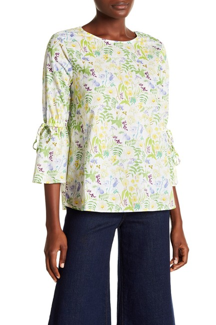 Philosophy Bell Cuffs Tie Accents Floral Print Boho Top Green Combo Image 2