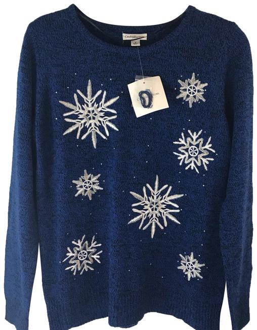 Preload https://img-static.tradesy.com/item/24588999/croft-and-barrow-acrylic-snowflake-winter-blue-with-silver-print-sweater-0-1-650-650.jpg