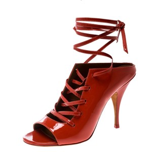 Givenchy Patent Leather Lace Leather Red Sandals