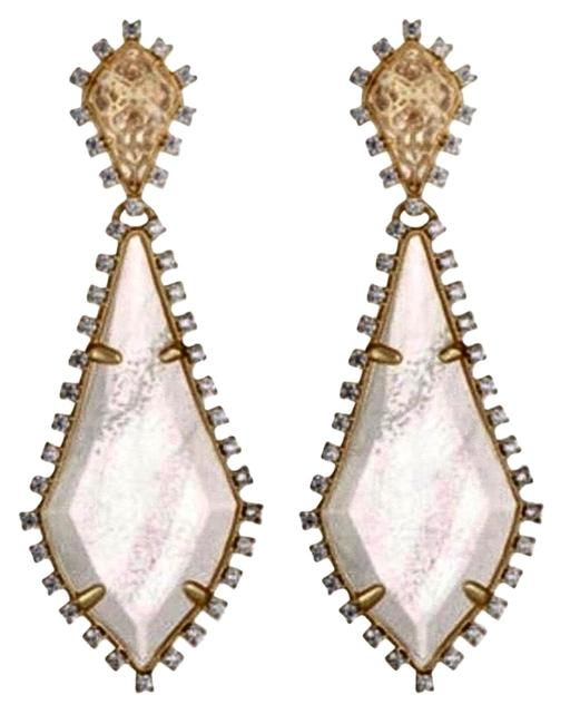 Kendra Scott Gold Clear White August Drop Earrings Kendra Scott Gold Clear White August Drop Earrings Image 1