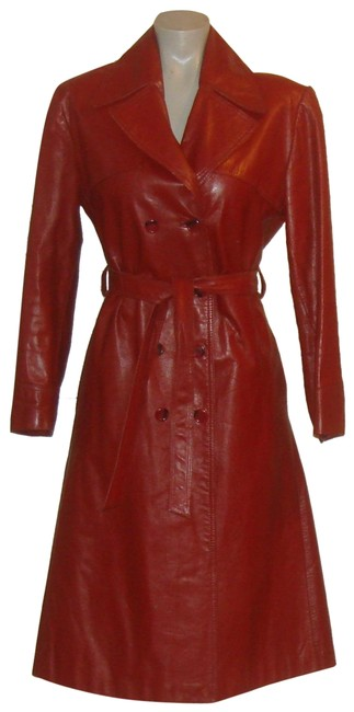 Item - Red Long Belted Leather Coat Size 8 (M)