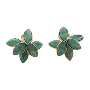 Dior Turquoise Flower Tribale Gold Tone Earrings