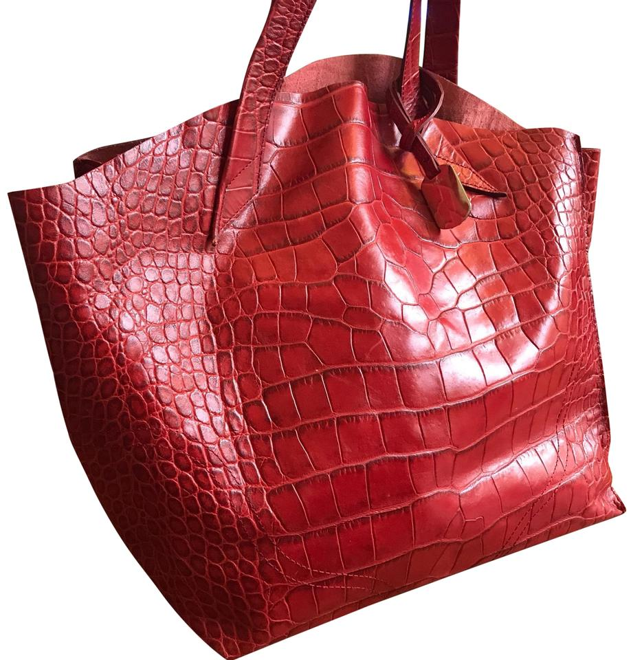 34702a25579d Furla Embossed Jucca Stitch Tote Red Full Leather . Satchel - Tradesy