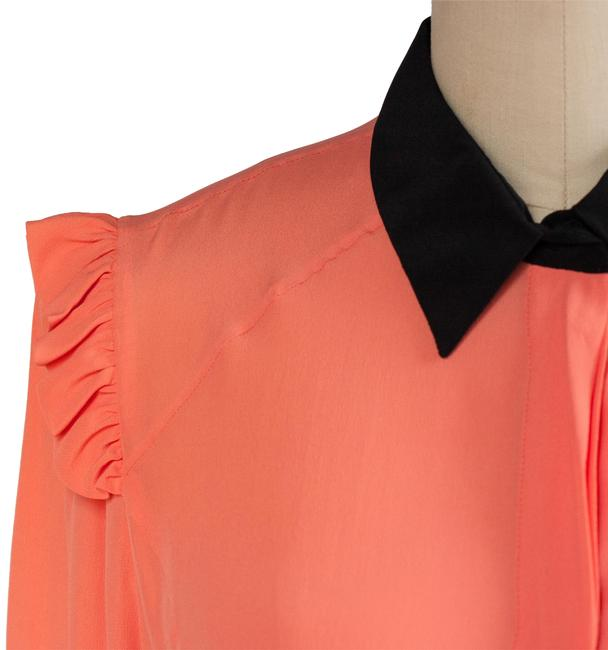 Marni Long Sleeve Button Up Ruffle Black Top Peach Image 1