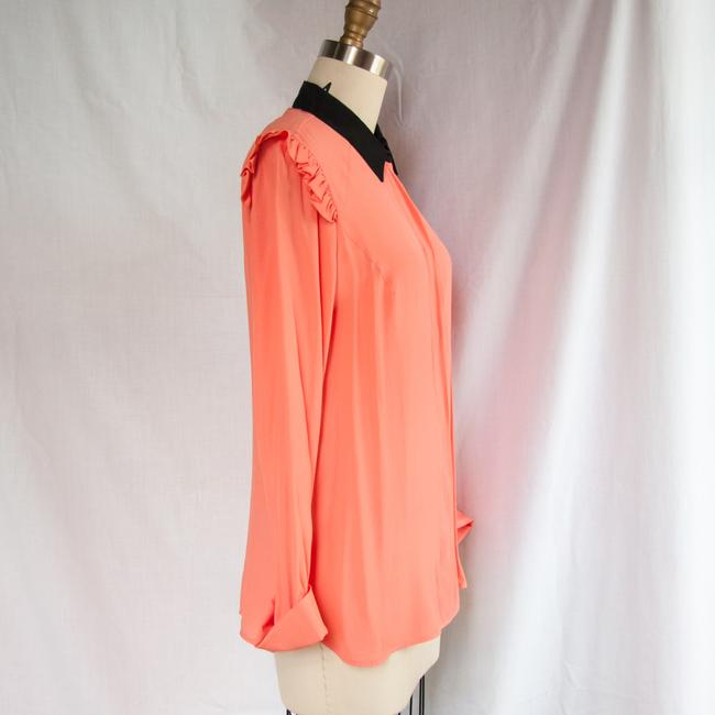 Marni Long Sleeve Button Up Ruffle Black Top Peach Image 4
