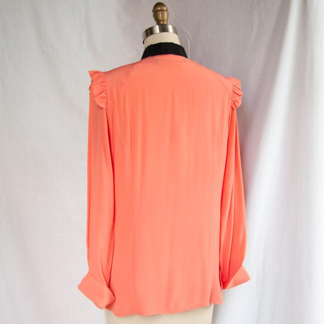 Marni Long Sleeve Button Up Ruffle Black Top Peach Image 5